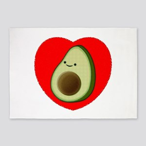 Cute Avocado In Red Heart 5'x7'Area Rug